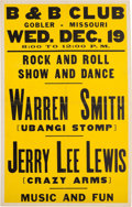 Music Memorabilia:Posters, Jerry Lee Lewis B & B Club Concert Poster (1956)....