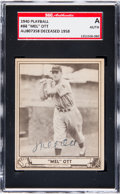 Baseball Cards:Singles (1940-1949), Signed 1940 Play Ball Mel Ott #88 SGC Authentic....