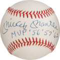 "Baseball Collectibles:Balls, 1980's Mickey Mantle ""MVP '56 '57 '62"" Single Signed Baseball. ..."