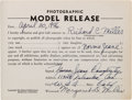 "Movie/TV Memorabilia:Autographs and Signed Items, A Marilyn Monroe [""Norma Jeane Dougherty""] Signed Modeling ReleaseForm, 1946. ..."
