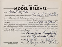 """A Marilyn Monroe [""""Norma Jeane Dougherty""""] Signed Modeling Release Form, 1946"""