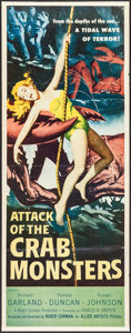 """Movie Posters:Science Fiction, Attack of the Crab Monsters (Allied Artists, 1957). Insert (14"""" X 36""""). Science Fiction.. ..."""