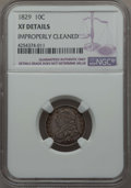 Bust Dimes, 1829 10C Small 10C -- Improperly Cleaned -- NGC Details. XF. NGCCensus: (9/219). PCGS Population: (26/231). CDN: $220 Whsl...