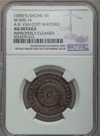 (1850'S) Token A.B. Van Cott Watches -- Improperly Cleaned -- NGC Details. AU. Racine WI. M-WIS-14.NGC Census: (0/0). P...