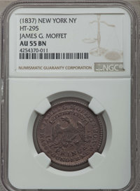 (1837) Token James G. Moffet, New York, NY. AU55 Brown NGC. HT-295, Copper, R.2