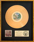 Music Memorabilia:Awards, Bootsy's Rubber Band Ahh...The Name Is Bootsy, Baby! RIAA Gold Record Sales Award (Warner Bros. BS 2972, 1977)....
