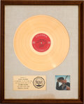 Music Memorabilia:Awards, Bob Dylan Nashville Skyline RIAA White Mat Gold Record SalesAward (Columbia KCS 9825, 1969)....