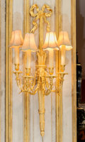 Decorative Arts, French:Lamps & Lighting, A Pair of Empire-Style Gilt Metal Four-Light Wall Sconces withShades, Poland, Late 20th century. 38-1/2 inches high (97...(Total: 2 Items)