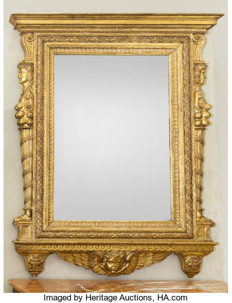 A Large Italian Baroque-Style Giltwood Figural Mirror Frame, | Lot ...