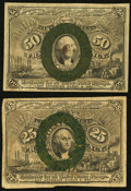 Fractional Currency:Second Issue, 25¢ and 50¢ Second Issues Fine.. ... (Total: 2 notes)