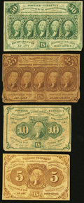 Fractional Currency:First Issue, 5¢; 10¢; 25¢; and 50¢ First Issues With Monogram Very Good or Better.. ... (Total: 4 notes)