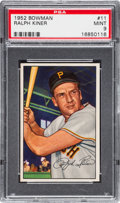 Baseball Cards:Singles (1950-1959), 1952 Bowman Ralph Kiner #11 PSA Mint 9 - Pop Four, None Higher. ...