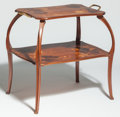 Furniture : French, Camille Gauthier Walnut and Marquetry Two-Tier Tea Table. Circa1900-1910. Signed C Gauthier, NANCY. Ht. 29-1/2 x W. 30-...