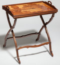 Furniture : French, Emile Gallé Marquetry Tray-Top Folding Table. Circa 1900-1910.Marquetry GALLE. Ht. 28-7/8 x W. 24 in. . ... (Total: 2Items)