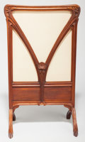 Furniture : French, French Art Nouveau Carved Walnut and Fabric Firescreen from theNancy School. Early 20th century. Ht. 40-1/2 x 23-1/4 x 14-1...