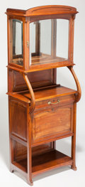 Furniture : French, Art Nouveau Fruitwood Glazed Vitrine Cabinet. Circa 1905. Ht.75-1/4 x 28-5/8 x 19-5/8 in.. ... (Total: 2 Items)