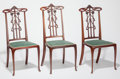 Furniture : French, Three Art Nouveau Victor Horta-Style Mahogany Side Chairs. Circa1900. Ht. 37-1/2 x 16-1/2 x 16 in.. ... (Total: 3 Items)