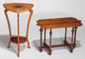 Furniture : French, Emile Gallé and School of Nancy Marquetry Side Tables. Circa1900-1915. Marks to shorter Gallé. Ht. 32-1/4 in.(taller)... (Total: 2 Items)