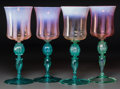 Art Glass:Tiffany , Four Tiffany Studios Pink and Green Pastille Glass Wine Stems.Circa 1900. Engraved L.C.T. Favrile. Ht. 9 in.. FROM THE ...(Total: 4 Items)