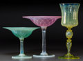 Art Glass:Tiffany , Three Tiffany Studios Pastille Glass Items. Pink quilted compote,green foliage compote, yellow wine stem.. Circa 1910. Engr...(Total: 3 Items)