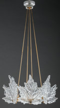 Art Glass:Lalique, Lalique Clear and Frosted Glass Champs Elysees Chandelier.Late 20th century. Ht. 40-1/2 x Di. 19 in.. ... (Total: 10 Items)