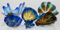 Glass, Dale Chihuly (American, b. 1941). Six-Piece Cobalt Blue Seaform Group with Red Lip Wrap, 1991. Blown glass with iridesce... (Total: 6 Items)