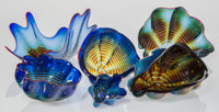 Dale Chihuly (American, b. 1941) Six-Piece Cobalt Blue Seaform Group with Red Lip Wrap, 1991 Blown g