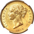 India:British India, India: British India. East India Company - Victoria gold Mohur 1841.-(c) MS62 NGC,...