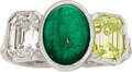 Estate Jewelry:Rings, Colored Diamond, Diamond, Emerald, Platinum Ring. ...
