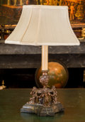 Decorative Arts, Continental:Lamps & Lighting, A Continental Patinated Bronze and Faux-Marble Figural Lamp, 20thcentury. 17-1/4 inches high (43.8 cm) . ...