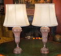 Lighting:Lamps, A Pair of Carved Oak Lamps, 20th century. 29-1/4 inches high (74.3 cm) (including hardware). ...