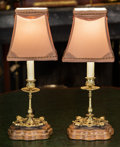 Lighting:Lamps, A Pair of Brass Candlesticks Mounted as Table Lamps. 19 inches high (48.3 cm). ... (Total: 2 Items)