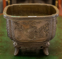 A Japanese Bronze Jardinière Marks: (Zheng Min and other character marks to underside) 10 h x 12-3/4 w x 12-3/4...