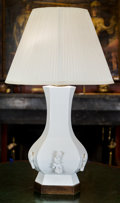 Asian, A Asiatic White Glazed Pottery Table Lamp, late 20th century. 35inches high (88.9 cm). ...