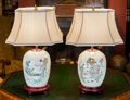 Asian:Chinese, A Pair of Chinese Polychrome Porcelain Jars Mounted as Lamps.25-3/4 inches high (65.4 cm) . ... (Total: 2 Items)
