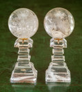 Paintings, A Pair of Rock Crystal Orbs on Plinths, 20th century. 4-7/8 inches high (12.4 cm). ... (Total: 2 Items)