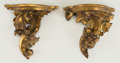 Decorative Arts, Continental, A Small Near Pair of Continental Rococo Revival Carved GiltwoodBrackets, 19th century. 6-1/4 inches high (15.9 cm). ... (Total: 2Items)