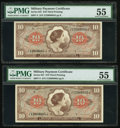 Military Payment Certificates:Series 641, Series 641 $10 Two Consecutive Examples PMG About Uncirculated 55..... (Total: 2 notes)