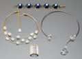 Art Glass:Lalique, Four Lalique Glass and Metal Pieces of Jewelry. BlueCabochon bracelet, butterfly necklace, Muguetnecklace and En... (Total: 4 Items)