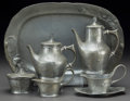 Decorative Arts, Continental:Other , Six-Piece Kayserzinn Art Nouveau Pewter Tea and Coffee Service.Circa 1900. Stamped KAYSERZINN. Ht. 12 x W. 6-1/2 in. (tray...(Total: 6 Items)