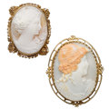 Estate Jewelry:Brooches - Pins, Shell Cameo, Gold Brooches. . ... (Total: 2 Items)