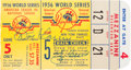 Baseball Collectibles:Tickets, 1956 Don Larsen and Yogi Berra Signed World Series Game 5 PerfectGame Ticket Stub....
