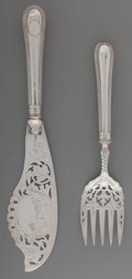 Silver & Vertu:Flatware, A Two-Piece Hawksworth, Eyre & Co. Victorian Silver Fish Service and Case, Sheffield, England, circa 1865. Marks: (lion pass... (Total: 2 Items)