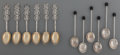 Silver Flatware, Continental:Flatware, Two Sets of Six-Piece Chinese and English Silver Demitasse Spoons,first half 20th century. 4-1/4 inches long (10.8 cm) (lon...(Total: 12 Items)