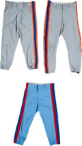 Baseball Collectibles:Others, 1980 and 1986 Gary Carter Game Worn Pants Lot of 3 from The Gary Carter Collection....