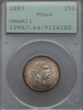 Coins of Hawaii , 1883 25C Hawaii Quarter MS64 PCGS. PCGS Population: (343/318). NGCCensus: (240/279). Mintage 242,600. ...