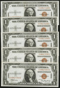 Small Size:World War II Emergency Notes, Fr. 2300 $1 1935A Hawaii Silver Certificates. Five Examples. About Uncirculated.. ... (Total: 5 notes)