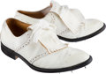 Golf Collectibles:Miscellaneous, 1975 Jack Nicklaus Masters Tournament Worn Golf Shoes with Nicklaus Letter....