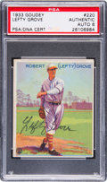 Baseball Cards:Singles (1930-1939), Signed 1933 Goudey Lefty Grove #220 PSA Authentic/Autograph 6. ...