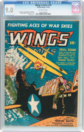 Golden Age (1938-1955):War, Wings Comics #39 (Fiction House, 1943) CGC VF/NM 9.0 Off-whitepages....